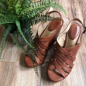 Frye Corinna Strappy Wedge Leather Sandals Brown 9